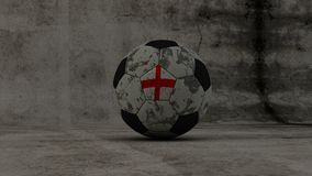 England soccer washed-up ball on concrete background Stock Photography