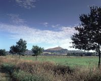 UK, Somerset, Glastonbury Tor. England, Somerset, Levels, near Glastonbury, view towards Glastonbury Tor Royalty Free Stock Photos