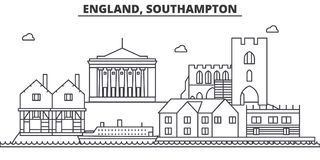 England, Southampton architecture line skyline illustration. Linear vector cityscape with famous landmarks, city sights Stock Photography
