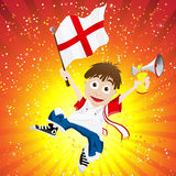 England Sport Fan with Flag and Horn Royalty Free Stock Image