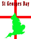 England And St Georges Day. A conceptual image of the map of England against the English flag, mainly this image is aimed at use for St Georges day Stock Photo