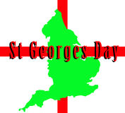 England And St Georges Day. A conceptual image of the map of England against the English flag, mainly this image is aimed at use for St Georges day Stock Image