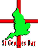 England And St Georges Day. A conceptual image of the map of England against the English flag, mainly this image is aimed at use for St Georges day Stock Photos