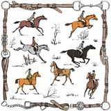Equestrian sport fox hunting with horse riders english style on landscape. England steeplechase tradition in leather belt frame with bit, saddle, horse riding Stock Image