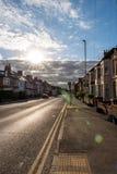 England-Straßensonnenuntergang-Morgenansicht Northampton Großbritannien Lizenzfreie Stockbilder