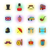 England symboler i komikerstil Arkivfoto