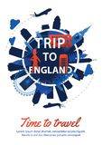 England top famous landmark silhouette style around text,nationa royalty free stock images