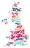 England top travel destinations word cloud Royalty Free Stock Photography