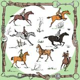 Equestrian belt frame with horse riders english style on landscape and sport fox hunting. England tradition style in leather frame with bit, saddle, horse Stock Photo