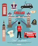England travel background with place for text. Set. Of colorful flat icons, England symbols for your design. Vector illustration royalty free illustration