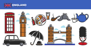 England travel destination promotional poster with national symbols Royalty Free Stock Image