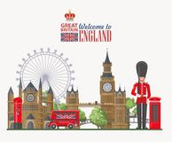 England travel vector illustration with Big Ben. Vacation in United Kingdom. Great Britain background. Journey to the UK. royalty free stock photos