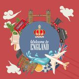 England travel vector illustration. Circle shape. Vacation in United Kingdom. Great Britain background. Journey to the UK. Colorful concepts Royalty Free Stock Photography