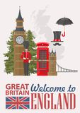 England travel vector illustration on grey background. Vacation in United Kingdom. Great Britain background. Journey to the UK. Colorful concepts stock illustration