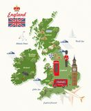 England travel vector illustration with UK map. Vacation in United Kingdom. Great Britain background. Journey to the UK. Colorful concepts royalty free illustration