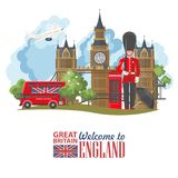 England travel vector illustration. Vacation in United Kingdom. Great Britain background. Journey to the UK. stock photos