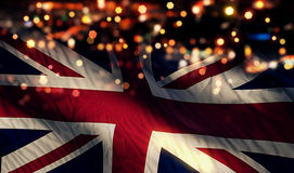 England UK National Flag Light Night Bokeh Abstract Background Stock Images