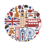 England UK travel sightseeing icons and vector landmarks poster. England UK sightseeing landmarks and famous vector travel attractions poster. Vector icons of Royalty Free Stock Photo