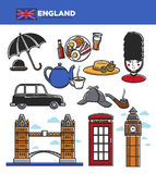 England UK travel tourism landmarks and famous tourist attractions vector icons Stock Photography