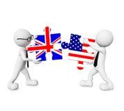 England - USA relationship. England - USA business relationship morph stock photo