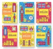 England-Vektorbroschürenkarten verdünnen Linie Satz Landreiseschablone von flyear, Zeitschriften, Poster, Bucheinband, Fahnen pla vektor abbildung