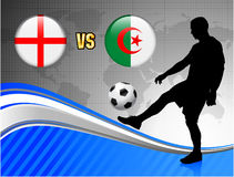 England versus Algeria on Blue Abstract World Map Background Stock Images