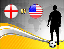 England versus USA on Abstract World Map Background Royalty Free Stock Photos