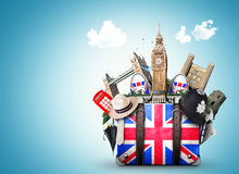 England. Vintage suitcase with British flag Royalty Free Stock Photography