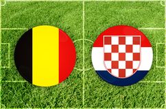 Belgium vs Croatia football match Royalty Free Stock Photos
