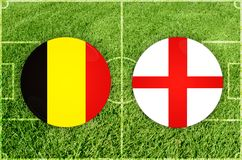 Belgium vs England football match Stock Image