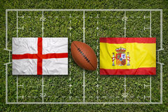 England vs. Spain flags on rugby field Stock Images