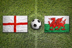 England vs. Wales flags on soccer field Stock Photography