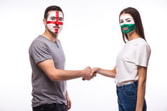 England vs Wales handshake of equal game on white background. Royalty Free Stock Photo