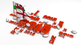 2015 England and Wales Flags with balls Stock Photo