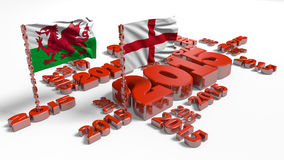 2015 England and Wales Flags. With a White Background Stock Illustration