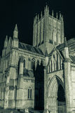 ENGLAND, WELLS - 20 SEP 2015: Wells Cathedral by night, black an Royalty Free Stock Photos