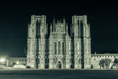 ENGLAND, WELLS - 20 SEP 2015: Wells Cathedral by night, black an. D white photography, split toning A, night photography Stock Photo
