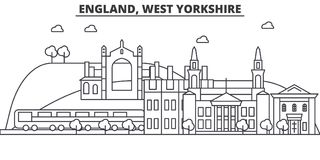 England, West Yorkshire architecture line skyline illustration. Linear vector cityscape with famous landmarks, city. Sights, design icons. Editable strokes Stock Photos