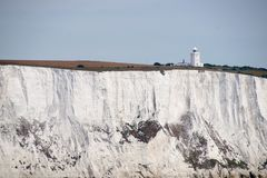 South Foreland Lighthouse on the white cliffs at Dover royalty free stock image