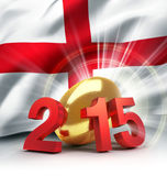 England 2015. 2015 year illustrated with a golden rugby ball, a waving English flag behind Royalty Free Stock Image