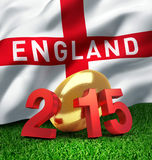 England 2015. 2015 year illustrated with a golden rugby ball, a waving English flag behind vector illustration