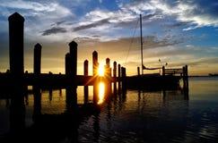 Englewood, FL bei Sonnenuntergang lizenzfreie stockfotos