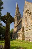 Englidh kościół z iglicą Obrazy Stock
