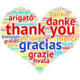 Englisch dankt Ihnen - Herz geformte Wortwolke, auf Weiß Stockbild