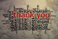 Englisch dankt Ihnen, offener Wort-Wolke, Dank, Schmutz-Hintergrund Lizenzfreie Stockbilder