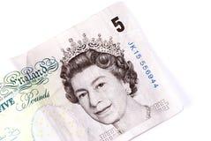 Englisch fünf-Pfund-Anmerkung Lizenzfreies Stockbild