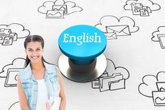 Englisch gegen blauen Druckknopf stockbild