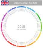 2015 Englisch-Kreis-Kalender Sonnen-SAT stock abbildung