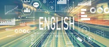 Englisch mit abstrakter Hochgeschwindigkeitstechnologie stockbilder