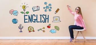 Englisch mit der jungen Frau, die einen Stift hält lizenzfreies stockfoto